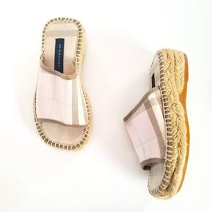 BURBERRY Slide Espadrille Sandals Pink Nova Check